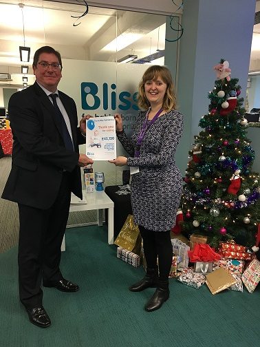 Donations to Bliss Charity, The Fertility Partnership donating £45000 to bliss charity